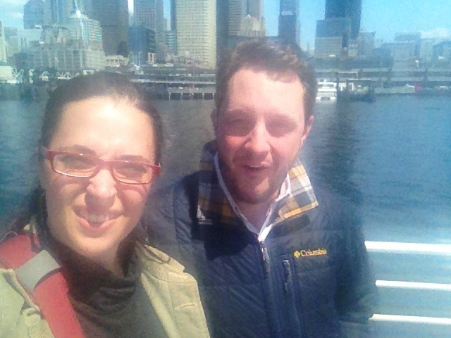 Catherine and Matthew on a Seattle water taxi