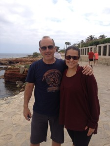 Steve and Catherine on the Mediterranean shore of Denia.